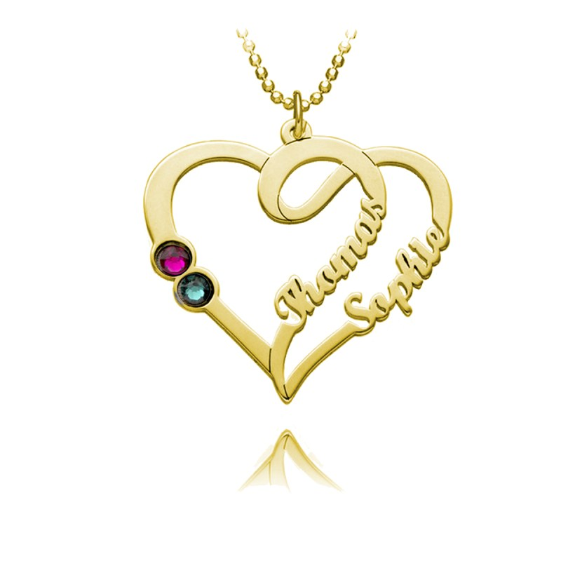 overlapping heart name necklace 18k gold plated silver