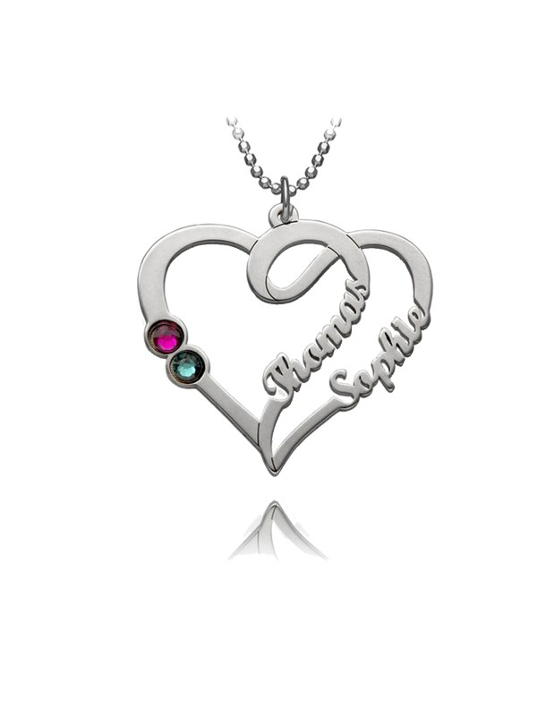 overlapping heart name necklace silver