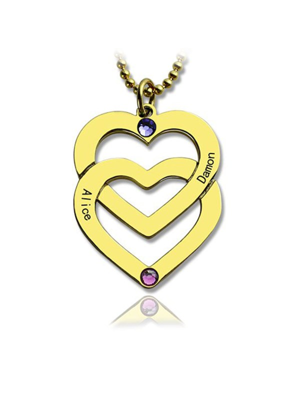 personalised vertical heart name necklace 18k gold