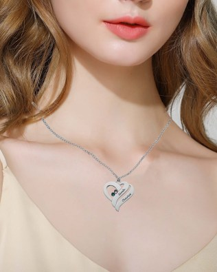 Double Heart Necklace Silver S925