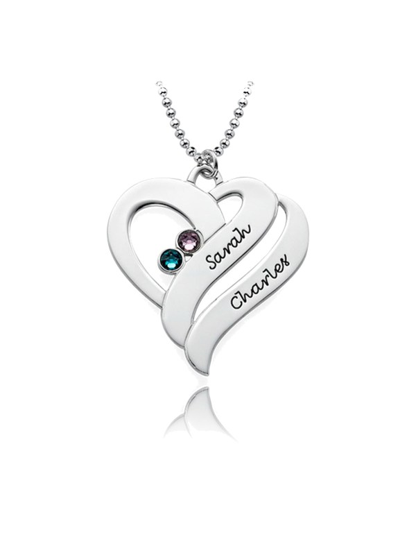 double heart name necklace with birthstone platinum plated