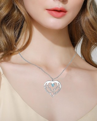 Heart Necklace 4 Name Silver S925 Platinum Plated