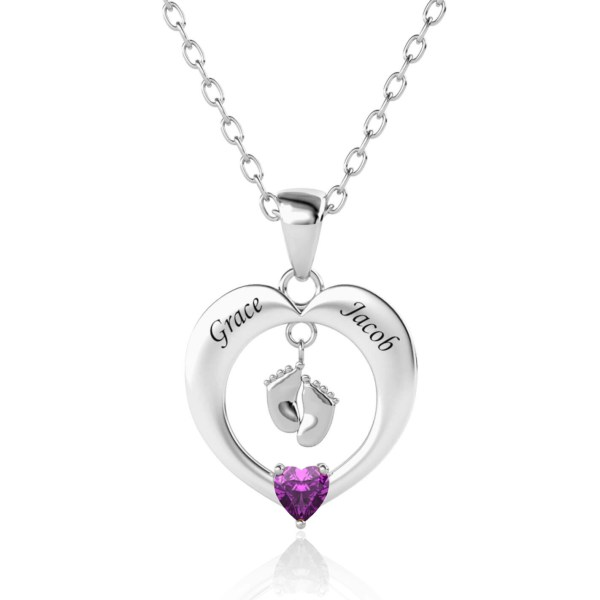 heart feet name necklace platinum plated silver