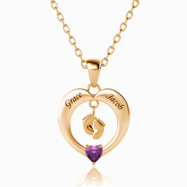 heart feet necklace rose gold plated silver