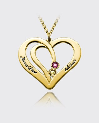 Overlapping Heart Necklace 1 With Birthstone Silver S925