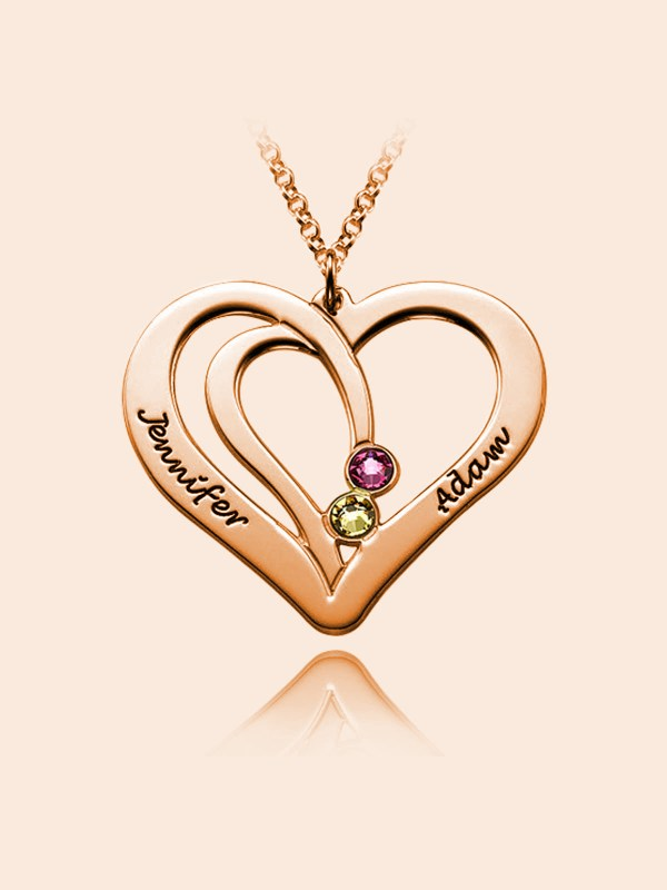 overlapping heart name necklace with birthstone rose gold silver