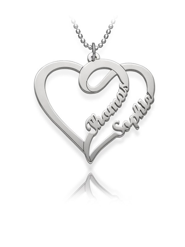 overlapping heart necklace 2 name silver custom