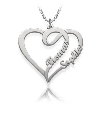 Overlapping Heart Necklace Silver S925