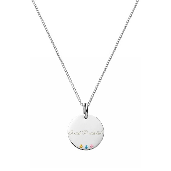 Disc Name Necklace with Birthstones Silver Platinum Plated
