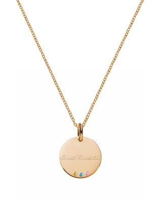 Disc Name Necklace with Birthstones Silver Rose Gold Plated