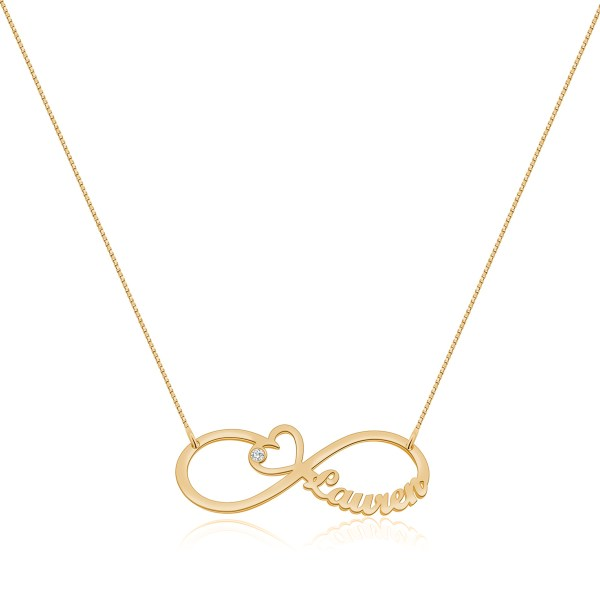 Heart Infinity Single Name Necklace Rose Gold Plated Silver