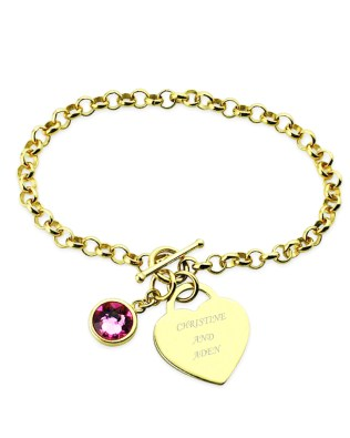 Birthstone Name Bracelet 18k Gold Plated