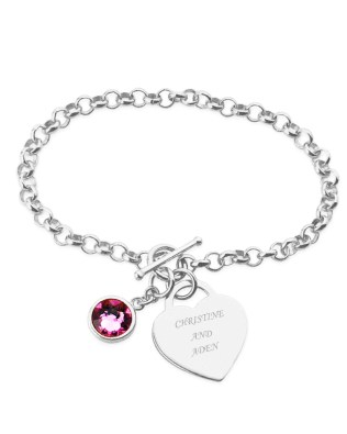 Birthstone Name Bracelet Platinum Plated