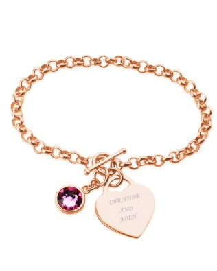 Birthstone Name Bracelet Rose Gold Plated