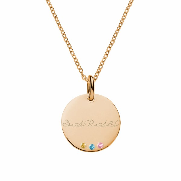 disc name necklace rose gold plated in silver with birthstones