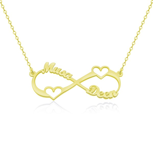 infinity name necklace gold plated