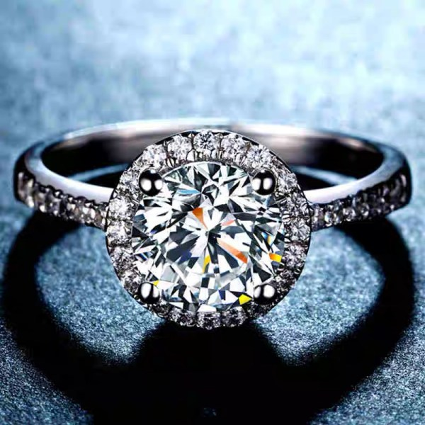 round cut moissanate engagement ring