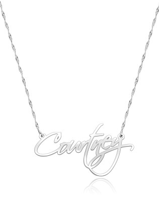 Courtney Style Name Necklace Platinum Plated Silver