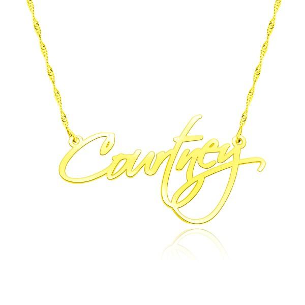 courtney name necklace 18k gold