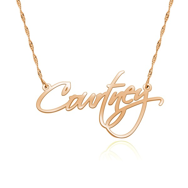 courtney name necklace rose gold plated