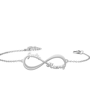 Personalized Infinity Double Name Bracelet Silver