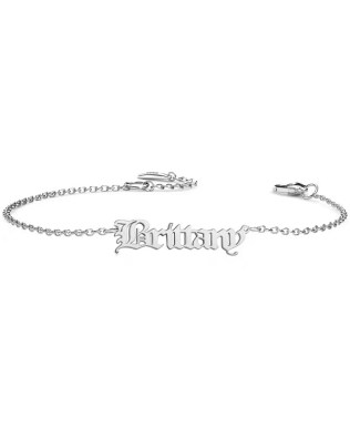 Personalized Old English Name Bracelet Silver
