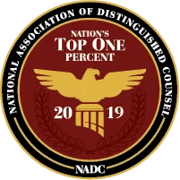 National Association of Distinguished Counsel Top One Percent Badge