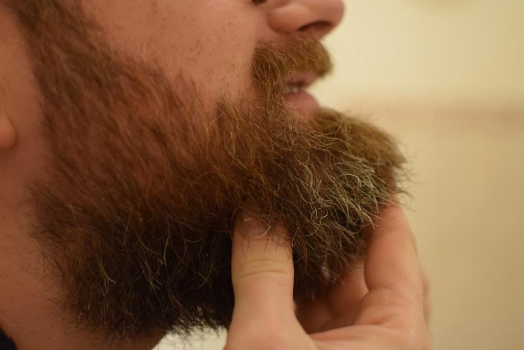 Application de l'huile à barbe