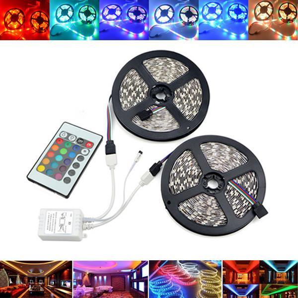 10M SMD2835 Waterdichte 600 LED RGB Strip Flexibele Tape Light Kit + 24 toetsen Afstandsbediening DC12V