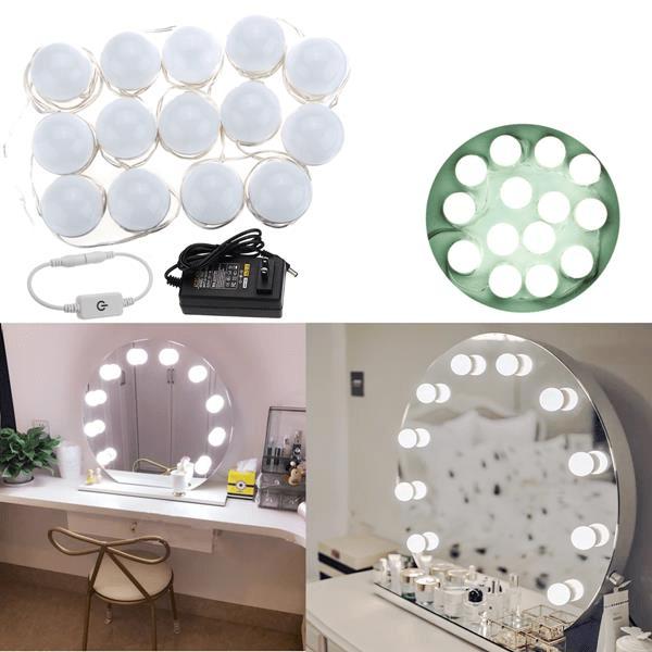 5M 14LEDs Witte LED-lamp met Hollywood-stijl Verlichting met make-upspiegel + US Adapter + Dimmer DC12V