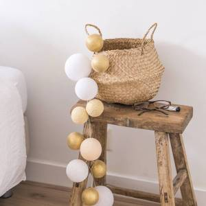 Cotton Ball Lights Premium lichtslinger goud - Touch of gold