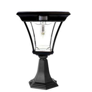 Solar buitenlamp London sokkel zwart met ledlamp