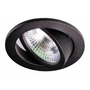 LED Spot Lage inbouwhoogte Rond IP54 10W 2000K-3000K Zwart | Dim naar Warm