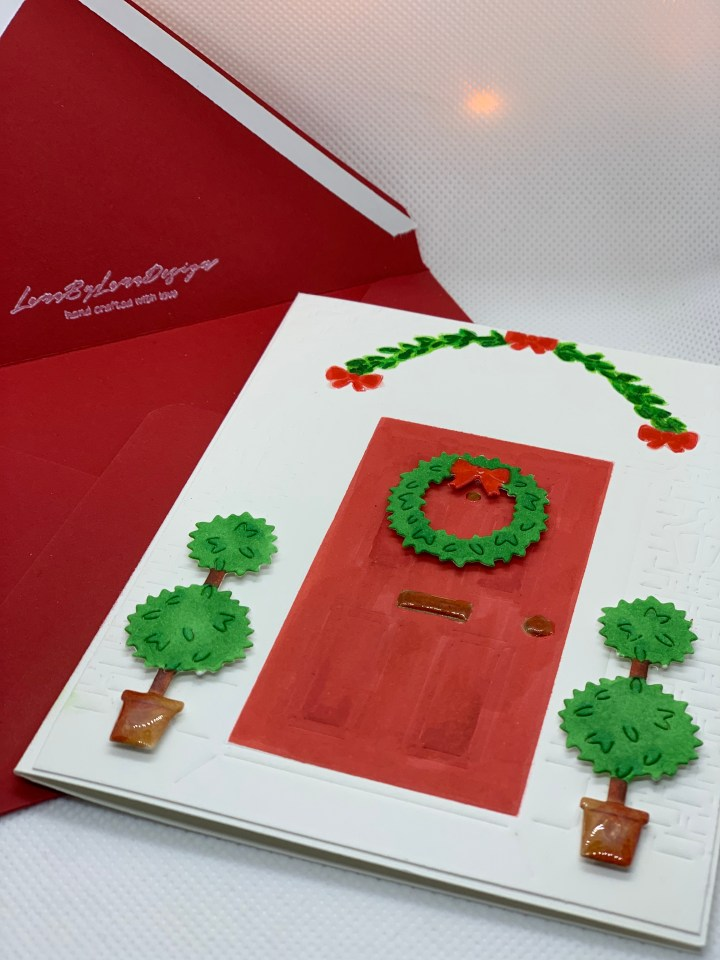 Handcrafted Holiday Greeting Cards red front door with a wreath