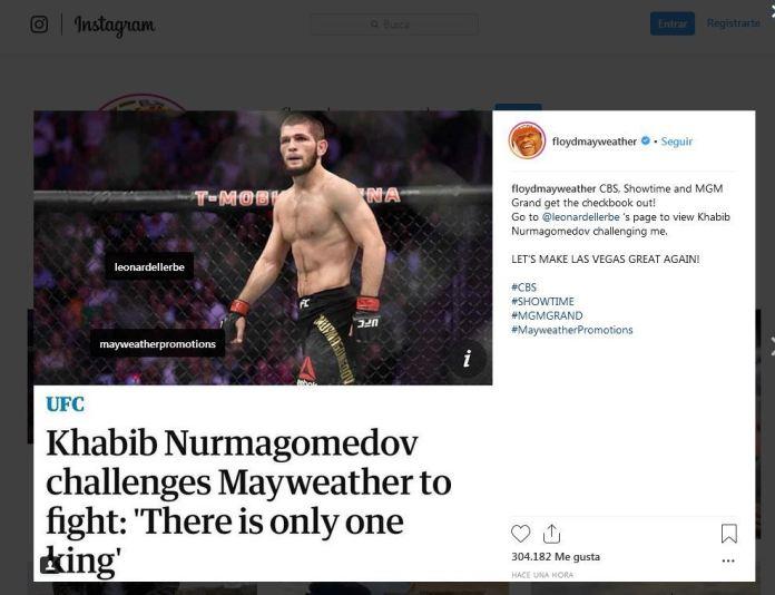 Khabib Nurmagomedov retó a Floyd Mayweather a una pelea de boxeo