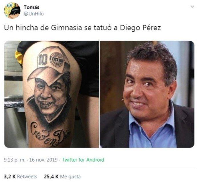 Mala suerte para este hincha: Se tatuó la cara de Maradona y Diego renunció a Gimnasia