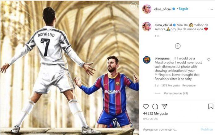 Esta es la polémica imagen de Messi arrodillado a Cristiano Ronaldo publicada por la hermana de CR7