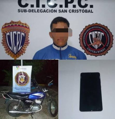 En Zorca-Providencia fue apresado por el Cicpc un motorizado, implicado en un presunto robo de teléfonos celulares