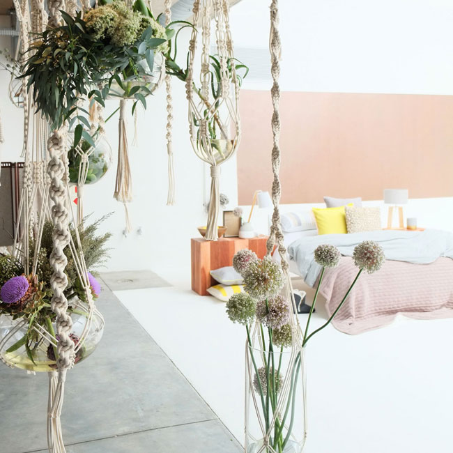 Beautiful macrame and floral installation