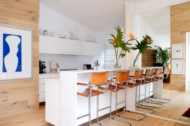 Designer kitchen with iconic retro chairs