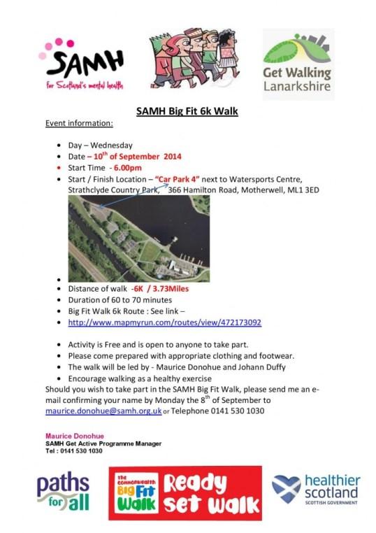 SAMH Big Fit 6k Walk lanarkshire