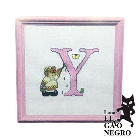 bordado letra Y osita rosa