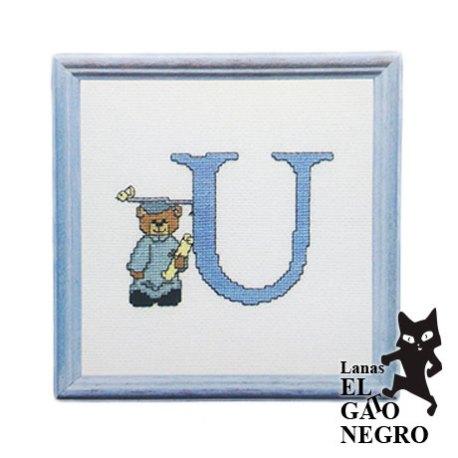 bordado letra U osito azul
