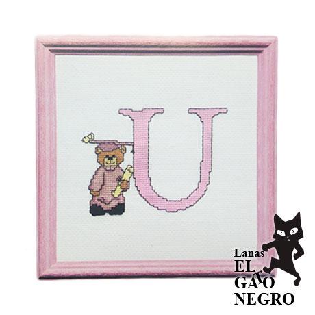 bordado letra U osita rosa