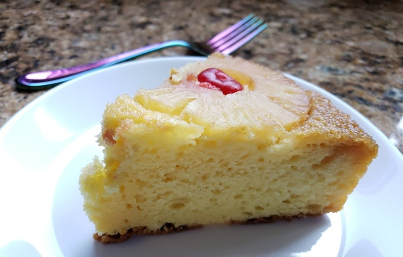 slice pineapple upside down cake