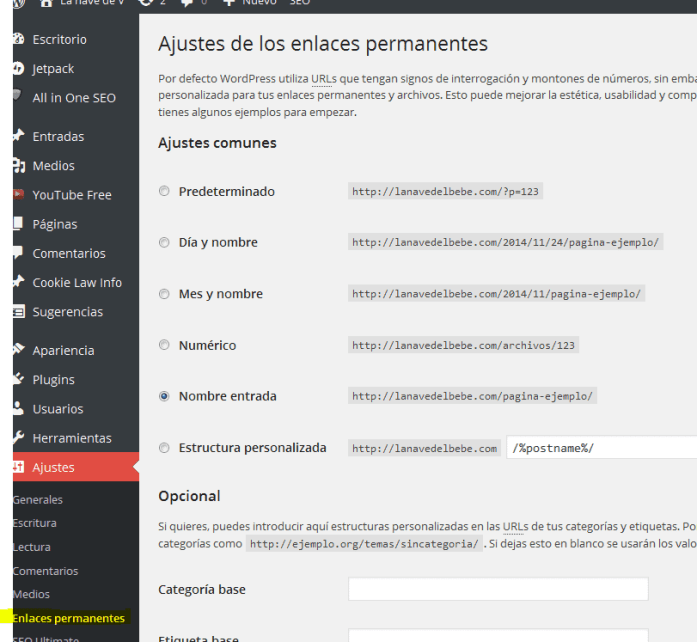 Donde ajustar enlaces en wordpress