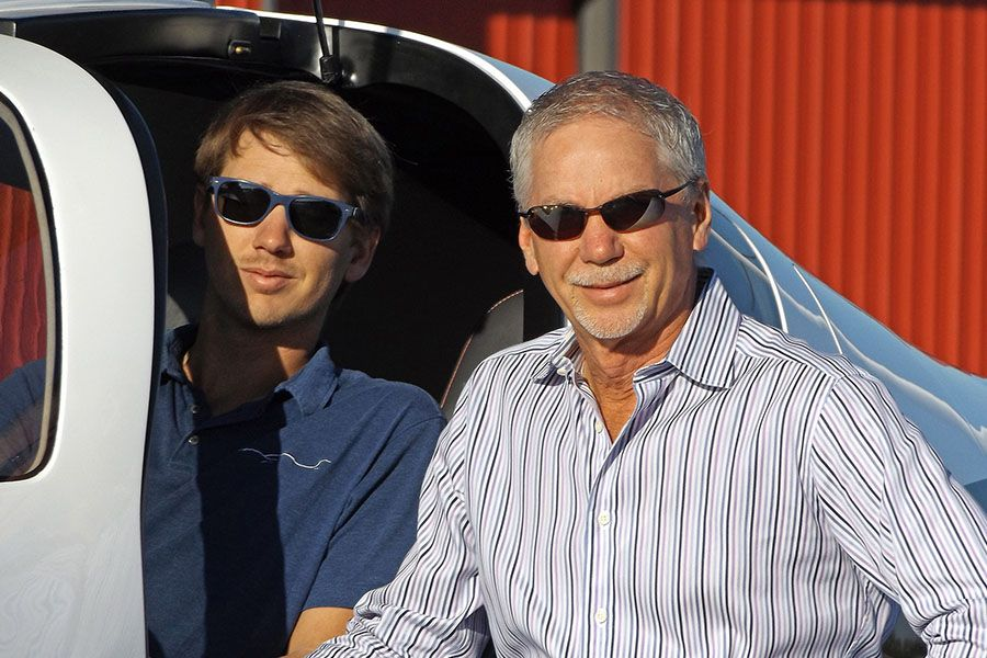 Conrad Huffstutler and Mark Huffstutler in the cockpit of a Lancair Mako