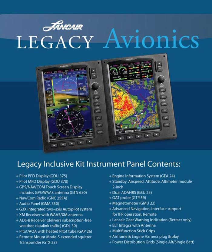 Ad for Lancair Legacy Avionics