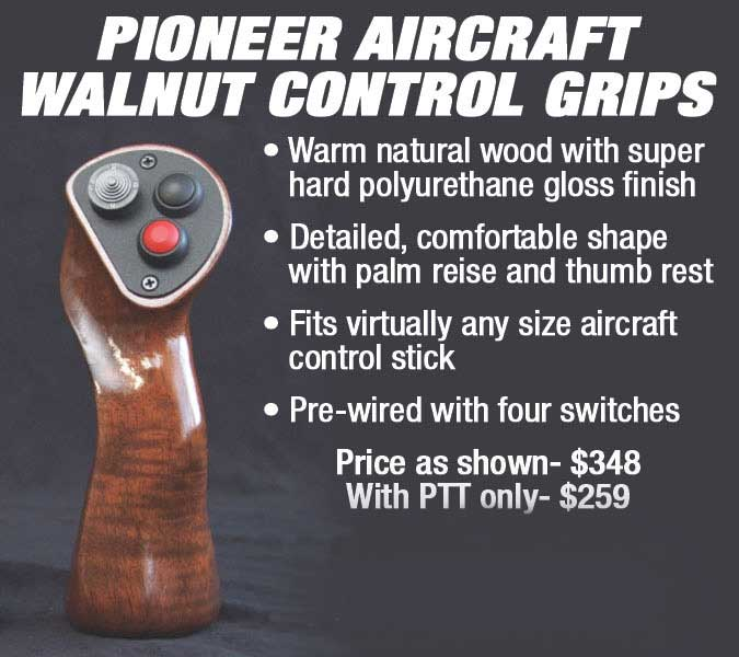 Ad for Pioneer Aircraft Walnut Control Grips