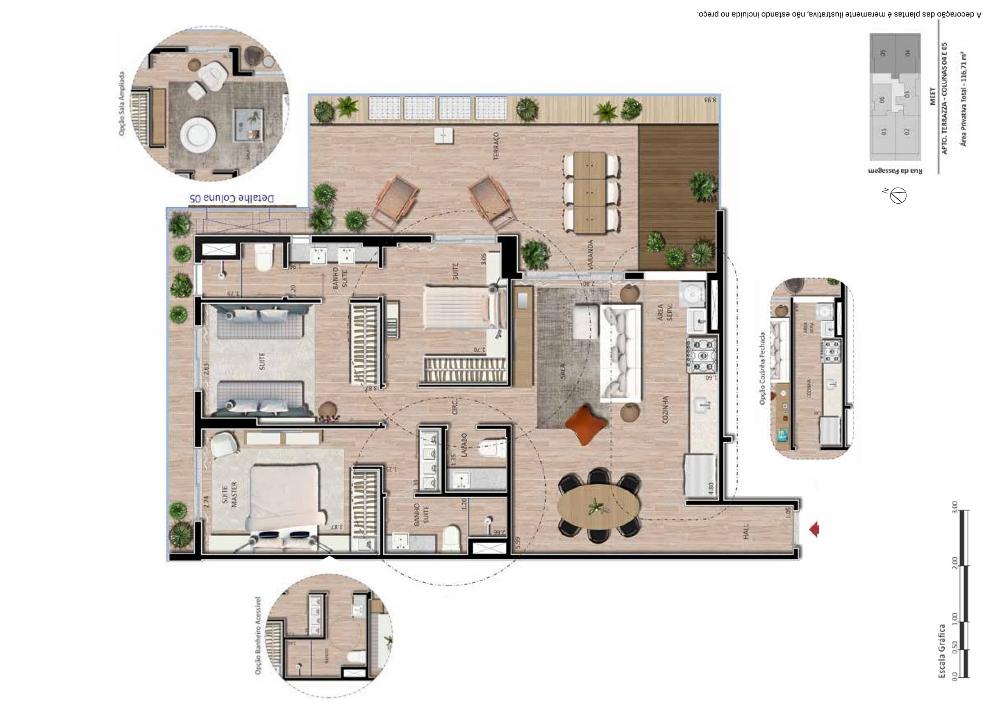 Apartamento 3 suítes terrazza